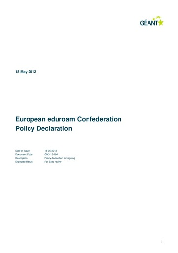 European Eduroam Confederation Policy Declaration