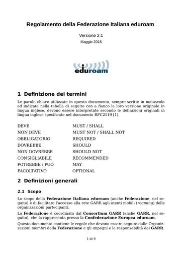 Regolamento della Federazione Italiana Eduroam