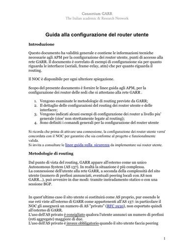 Guida alla configurazione del router utente