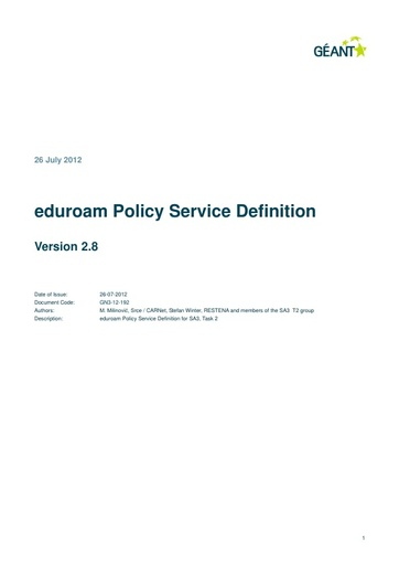 Eduroam Policy Service Definition